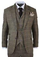 Men 3Piece Suits Classic Tweed Herringbone Check Tan Brown Slim Fit Vintage Suit