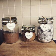 Wooden Jar Pantry Basket labels tags plaque tea coffee sugar Kitchen Storage Hea