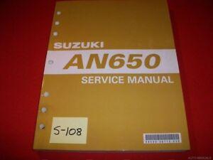 SUZUKI AN650 AN 650 ORIGINAL FACTORY SERVICE MANUAL INC 2004-05 SUPP. CHAPTERS