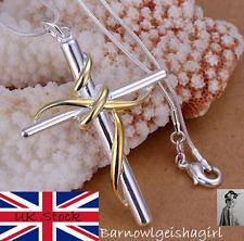 Gold Twist Cross Pendant 925 Silver Men Or Women LadyChain NecklaceUK Seller