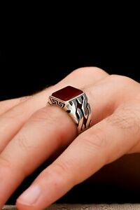 AAA QUALITY STERLING 925 SILVER JEWELRY AGATE-AQEEQ MEN'S RING