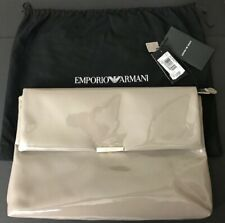 Emporio Armani Patent Leather Large Envelope Clutch Beige Gray + Dust Bag NWT