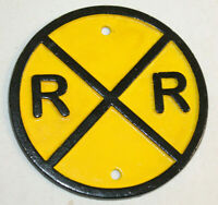 VINTAGE STYLE HEAVY CAST IRON YELLOW ROUND RAILROAD TRAIN SIGN RR CROSSING SIGN