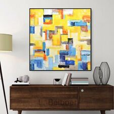 LARGE ORIGINAL YELLOW 36 x 36 ABSTRACT ART BLUE MODERN OIL PAINTING  L. Beiboer