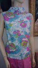 Vtg 1960s funnel neck sleeveless cotton shirt top blouse aqua print ILGWU NOS M