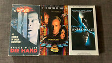 Bruce Willis 3 Vhs Lot, Die Hard, The Fifth Element, unbreakable, Pre Owned.