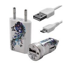 Mini Chargeur 3en1 Auto + Secteur USB + Câble Data avec HF01 pour HTC : One /