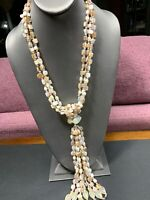 Vintage Bohemian Mop Shell & Freshwater Pearl  Beaded Unusual Necklace 20""