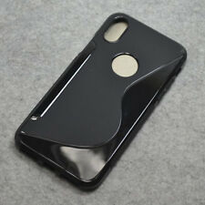 For Iphone X Black S Line Skidproof Rubber Gel skin case back cover