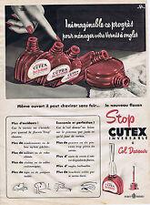 PUBLICITE 084 1952 CUTEX esmalte de uñas a col dispensador Feret Frères