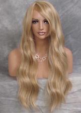 Human Hair Blend Blonde mix wavy Bangs Heat safe Full Wig Hairpiece 24-613 PY