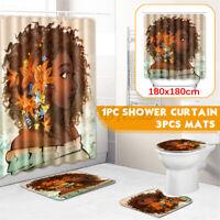 Stylish Printed Bathroom Shower Curtain Set Waterproof Mildew Toilet carpet/