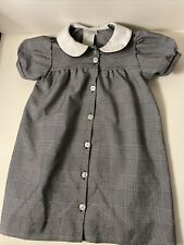 Flynn o'Hara Uniform- Girls Black & White Glen Plaid Peter Pan Collared Dress, 6