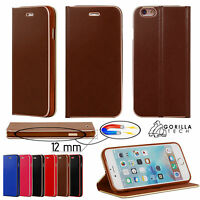 Wallet Leather Case Ultra Slim Flip Genuine Cover For Mobile Phone Retail Pack