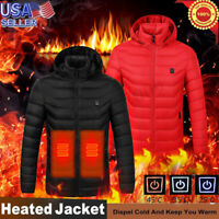 Electric USB Men Women Winter Heated Hooded Warm Coat Heating Jacket Clothing
