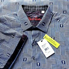 ROBERT GRAHAM Men's Large S/S Shirt Dittmer Skulls Stripe Check MSRP $178 NWT L