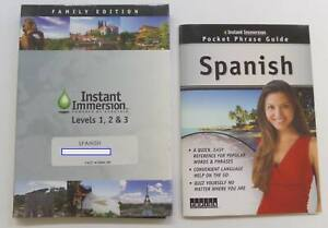Instant Immersion Spanish Levels 1, 2, & 3 Family Edition w/ Pocket Phrase Guide