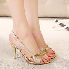 HOT Womens Ladies Peep Toe Slingback Sandal Gold Heel Stiletto Party Dance Shoes
