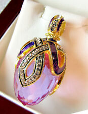 SALE ! GORGEOUS RUSSIAN STERLING SILVER and 24K AMETHYST ENAMELED EGG PENDANT