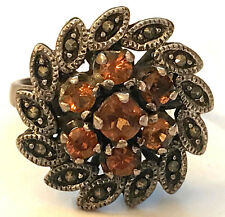 Sz7.5 Flower Ring w/ Orange/Brown Stones & Marcasite Accents 925 Sterling Silver
