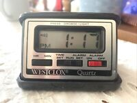 Vintage Quartz Westclox LCD Digital Travel Alarm Clock