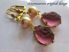 Art Nouveau Art Deco earrings frosted amethyst glass Victorian Edwardian style