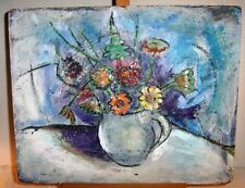 Original Mid Century Modern Abstract Oil Painting  Floral Still Life Flowers