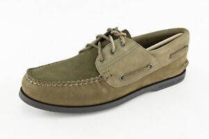 Sperry x J. Crew 3 Eye Leather Boat Shoe Olive Top Sider Limited $110