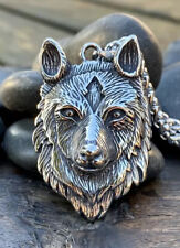 Heavy Silver Plate On Steel Wolf Pendant Necklace