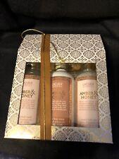 3 Lacura Botanicals Amber & Honey Body Wash Body Lotion Bath Salts Gift Set Trio