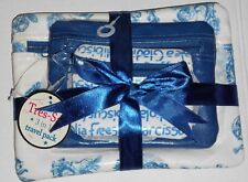 Vintage Cute 3 Pc Set Makeup Bag Blue White Print Travel Pack Tres Sac Gift