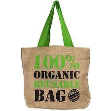 Natural Eco Friendly Grocery Shopping Bag Jute Hessian Shopper Reusable Tote