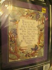Bucilla Blessed Are You Cross Stitch Kit 11x14 Inches Religious Sampler/Birds/Tr