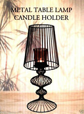 INTERIORS DESIGN METAL SCROLL TABLE LAMP CANDLE HOLDER,GLASS SHADE,NEW