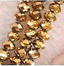 6x4mm, or perles de cristal  en vrac, 198pcs