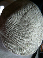 LANDS' END CABBIE BROWN/CREAM TWEED LINED WOMENS CAP-60% WOOL-MADE IN USA