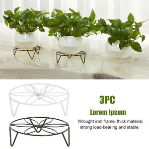 3pcs Hollowed Out Indoor Outdoor Plant Shelf Flower Stand Floor Wrought Iron