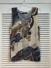 Etro Paisley Silk Knit Tank Top w/ Ruched Chiffon Inset IT 44 M 8