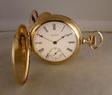 115 YEARS OLD WALTHAM 10k GOLD FILLED HUNTER CASE 16s GREAT LOOKING POCKET WATCH