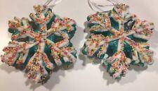 Lg Snowflake Candy GLITTERED Sugar COATED TREE XMAS DECOR ORNAMENT WREATH