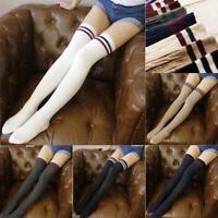 Over The Stockings Women Girl Knee Long Socks Thigh High Stripe Striped Stripy
