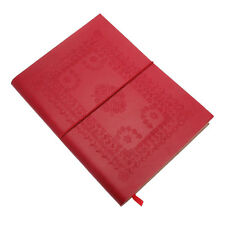 Embossed Leather Notebook, Red, 60 Unlined Recycled Paper Pages Journal Diary