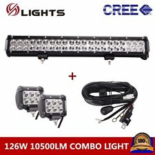 126W 20IN CREE LED COMBO LIGHT BAR OFFROAD 4WD 4X4 With 2X 18W Spot + Wiring Kit