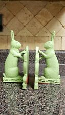 Pair of Green Rabbit Cast Iron Heavy Book Ends Made by Midwest