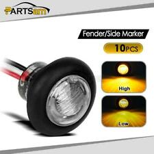 """10x 3/4"""" Clear/Amber Round Led Marker / Clearance Light Truck Trailer Boats 3LED"""