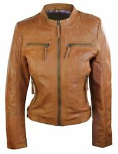 Ladies Real Leather Jacket Short Fitted Brown Tan Retro Chinese Collar
