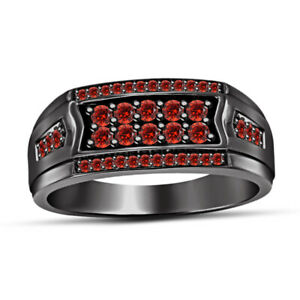 Men's 14K Black Gold Finish Round Cut Red Garnet Engagement Ring Wedding Band