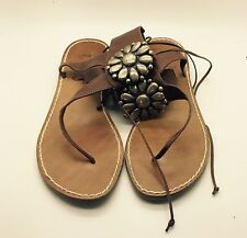 MISS TRISH OF CAPRI Brown Leather Ankle Strap Metal Studs Flats Sandals 39 Italy