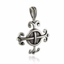 Celtic Wisdom Cross Pendant - 925 Sterling Silver -  Amulet Swirl NEW