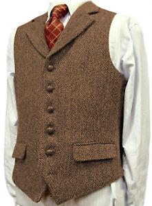 Mens Vest Formal Notch lapel Herringbone Tweed Waistcoat Tuxedo Business S-3XL++